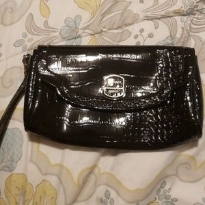 Guess patent leather black clutch purse